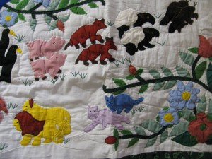 Noah's Ark and the boarding in pairs of animals contour hand quilted throw.