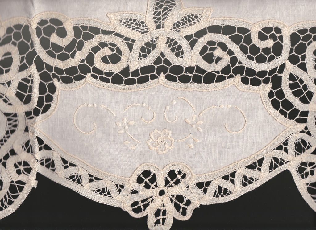 Battenburg Lace Valance Window Pane Style Embroidery White The Lace And Linens Co