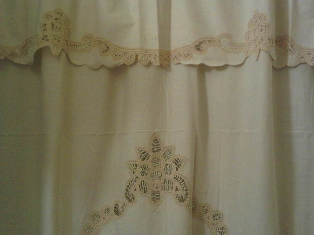 battenburg lace trimmed shower curtain features more lace work than