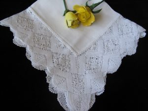 Wedding Handkerchief- Linen Bobbin Lace with Hemstitched border edge. The ultimate keepsake for the Bride's last tears.