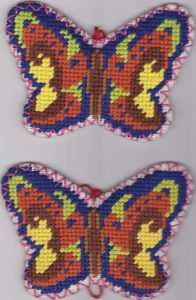Needlepoint Butterfly shaped Tea Coasters 100% Wool hand stitched Gros Point Tapestry-Design #1