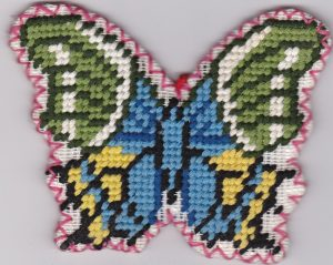 Needlepoint Butterfly shaped Tea Coasters 100% Wool hand stitched Gros Point Tapestry-Design #2