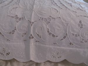 Lotus Blossoms Elaborate Cutwork Bed Cover In Linen