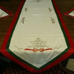 Charlie Brown Christmas Tree and Rocking Horse embroidered table runners & doilies.