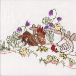 Chicken Family Folk Art inspired embroidered tablecloth