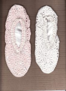 Pretty in White or Pink Fine Cotton handmade Crochet Lace Slippers. S-M-L