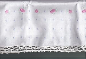 Hand Crocheted Lace trim Pillow Case Dress with Embroidered Impatiens and whimsical Polka Dots embroidery 100% Pure and White Premium Quality Cotton