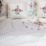 Cross Stitched duvet cover and shams