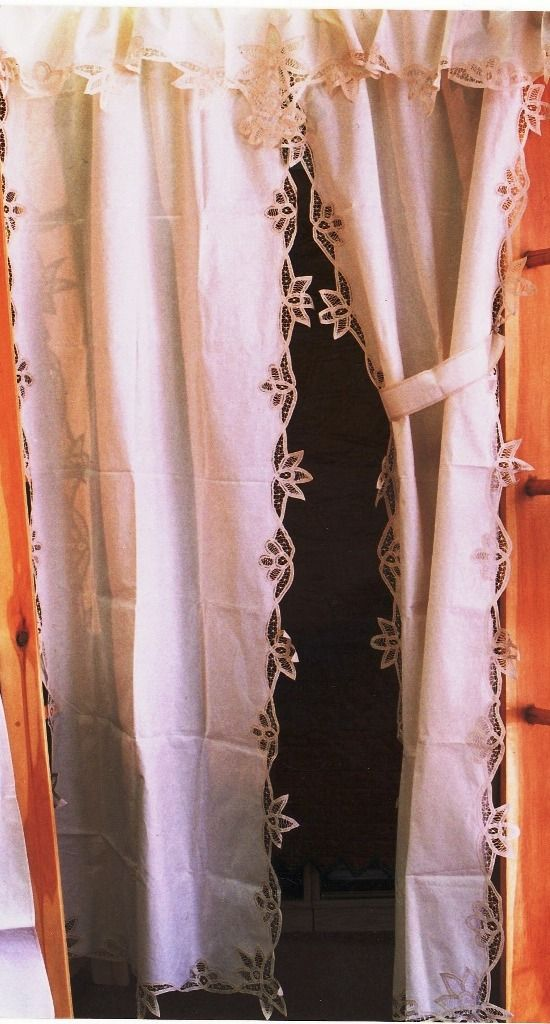 Curtain Panel Trim With Battenburg Lace Flower Bloom White Cotton The And Linens Co