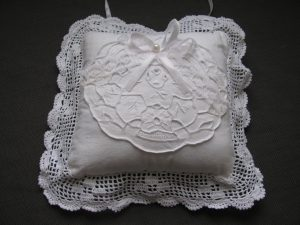 Crochet Lace trim Wedding Ring Bearer Pillow with detailed Cutwork embroidery
