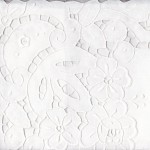 White Cotton Cutwork Rose shower curtain features authentic cut-out embroidered roses on all sides. Detachable valance.