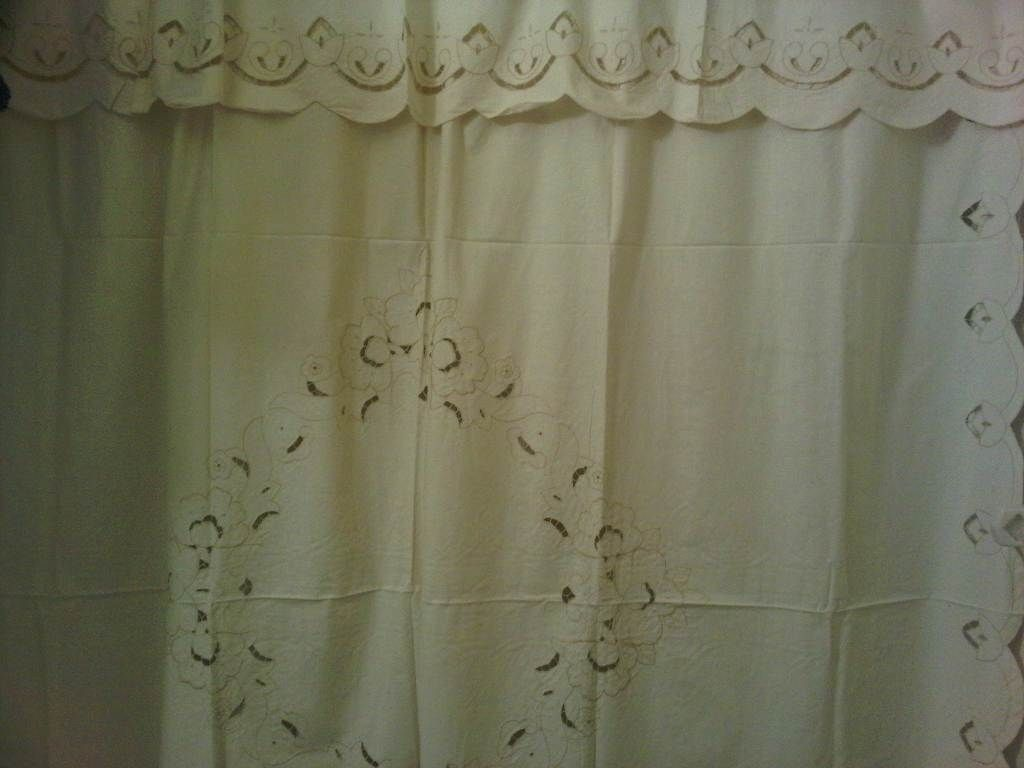 Lace Shower Curtain Cut Work Tulips Whitework Embroider