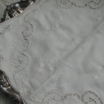 Pure Linen Cutwork and White work embroidered Rose Buds in Classic White-on-White.