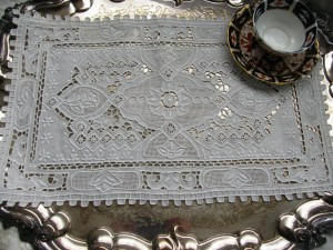 Great Wall pure linen Full cutwork embroidered doily.