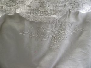 Tuscany Lace bedding with fine needle embroidered Chrysanthemums & foliage.