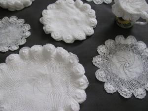 Fine Pinwheel Crochet Doilies with Irish Roses edge and border.