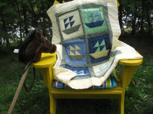 Baby hand quilted SAILBOAT Yellow-Apple Green-and-Blue with contour hand quilting/