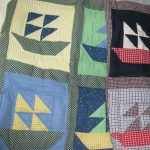 Baby hand quilted SAILBOAT Red-White-and-Blue or Green-Yellow-and-blue