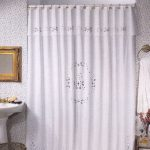 Broderie Anglaise embroidered shower curtain cotton in ecru colour.
