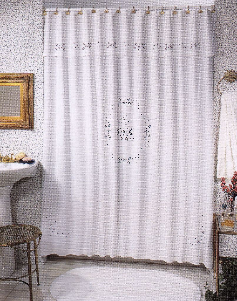 BRODERIE ANGLAISE EMBROIDERED SHOWER CURTAIN COTTON-WHITE OR ECRU ...