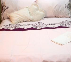 Elite Battenburg Lace bed shset set: Blush Pink colour.