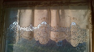 Elite Battenburg Lace valance in an interesting window pane style.