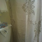 Elite Battenburg Lace Shower Curtain has a handmade lace edge on all sides...on sale now.