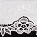 Elite Battenburg Lace bed skirt close-up.