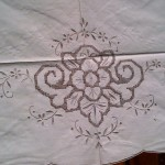 Vintage Grey Drawn Thread Embroidered table cloth