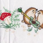 Hedgehogs Musical Folk Art embroidery tablecloth