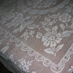 Vintage Flower Garden Lace tablecloth premium quality white cotton.
