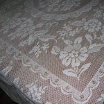 Vintage Flower Garden Lace tablecloth premium quality white cotton.