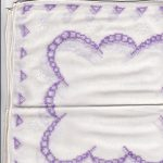 Lavender Heirloom Back-stitching embroidered handkerchief for heirloom keepsake.