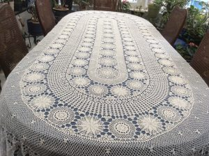 Snowflake Crochet Lace 100% Cotton In Oval Shape Beautifully Designed For Oval  Table.