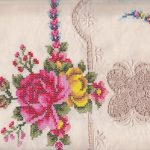 Punto in Aria -Stitches in Air- Venetian Lace & Cross stitched Roses tablecloth.