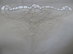 Venice Lace needle lace Cotton White pillow sham with flange.