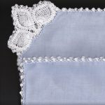 Something Blue for wedding cotton handkerchief with Pineapple Crocheted lace corner and picoted edge.