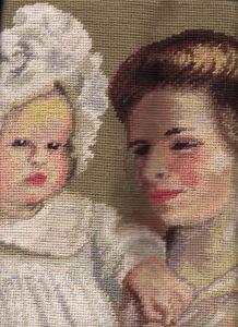 Renoir Art Wool Needlepoint pillow closeup view