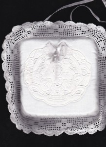 Hand Crochet Lace edged with embroidered sachet can be a ready made ring bearer pillow. After the wedding...serve as a pin cushion in the kitchen or sewing room or even the foyer.