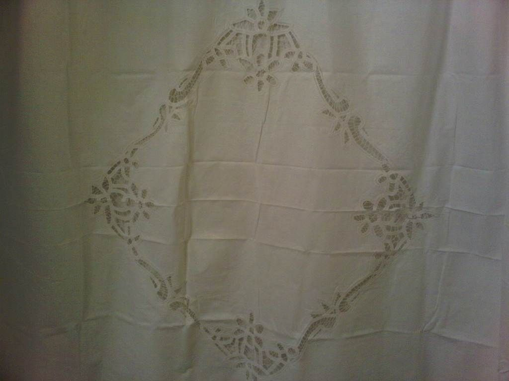 battenburg lace shower curtain white