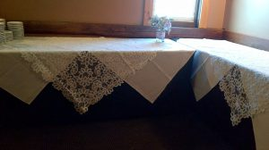 Solid Battenurg Lace Lotus design Wedding Food Table Lace overlay