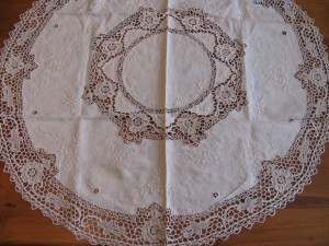 Pure Linen Reticella Lace tablecloth in Ecru colour