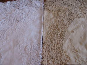 Pure Linen Reticella Lace tablecloth in White or Ecru colours.