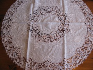 Pure Linen Reticella Lace tablecloth in White colour