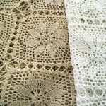 Hand crochet lace tablecloth Sunflower design available in White or Ecru.