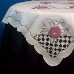 Cut Lace and Applique Roses 36 square tea tablecloth, easy care polyester..