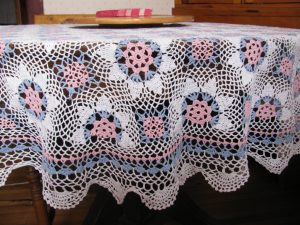 Pink Blue and White hand Crocheted Lace tablecloth Round Baby Shower