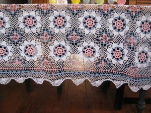 Pink Blue and White hand Crocheted Lace tablecloth.