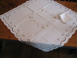 Cutwork Tulips Embroidered Cotton tablecloth in square, round or oblong shapes.
