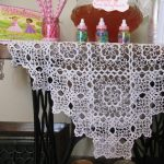 Tatting Lace handmade Snowflake tablecloth with Celtic Cross edging.